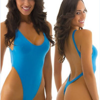 Blue Backless One Piece Swimsuit