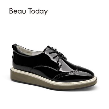 BeauToday Wingtip Oxfords Shoes Women Lace-Up Genuine Patent Cow Leather Shoes for Ladies Square Toe Brogue Style Flats 21082
