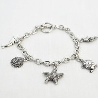 Antique Silver Sea Life Charm Toggle Bracelet - Dolphin, Seahorse, Sea Turtle, Shell, Dolphin