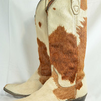 Vintage Cow Skin Boots// 70s Cowgirl Boots