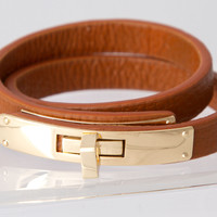 Cognac Leather Wrap Bracelet
