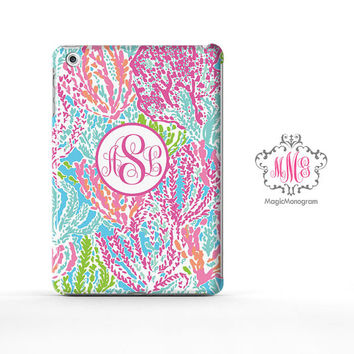 Monogram iPad Air Case Sea weed Celebration, custom Lilly Pulitzer Inspired monogram iPad Case, available iPad 3, iPad 4, iPad Mini Case