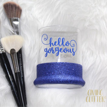 Hello Gorgeous Swirly // Glitter Dipped Makeup Brush Holder