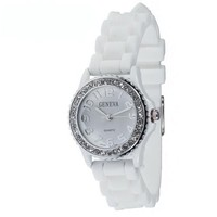 Mens & Womens White Silicone Crystal Small Face Watch