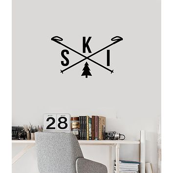 Vinyl Wall Decal Ski Skiing Word Skis Winter Sports Room Decoration Stickers Mural (ig6037)
