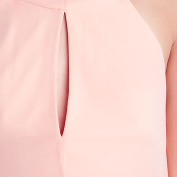 Pink Halter Asymmetrical Maxi Dress