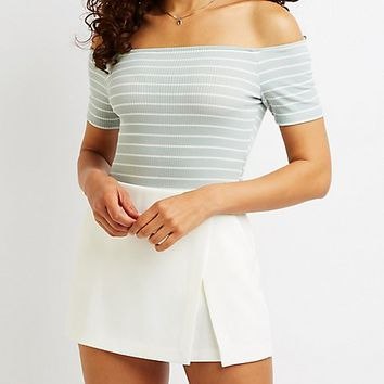 Striped Off The Shoulder Bodysuit | Charlotte Russe