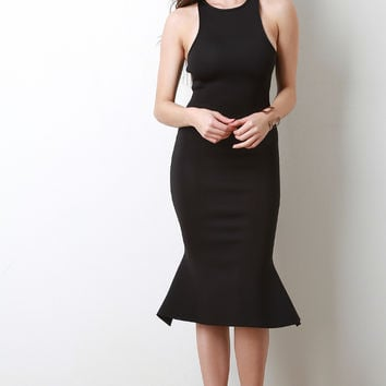 Sleeveless Cutaway Mermaid Midi Dress