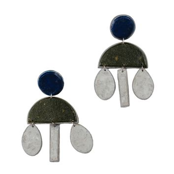Olive Recycled Paper Earrings