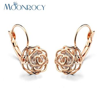 MOONROCY Free Shipping Italina Fashion Jewelry wholesale Rose Gold Color CZ Crystal Flower Earrings Gift New For Women