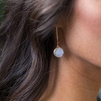 Druzy Drop Earring - Sky Blue