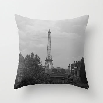 Black and White Eiffel Tower Pillow, Paris Pillow Cover, French Home Decor, Travel Photo Pillow, Paris Pillow Case, 16X16 Pillow Cover