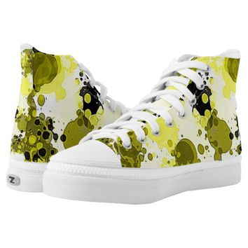 Black and Yellow Modern Paint Splatter Abstract Printed Shoes