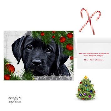 Black Lab Christmas Cards 10 - Labrador Christmas Cards - Black Lab Art A1- Christmas In July - Lab Dog - Labrador Retriever - Black Dog Art