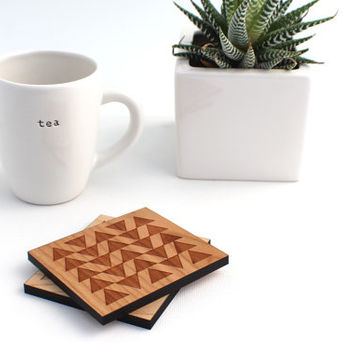 Tribal Triangle Wooden Coaster Set (2) - Laser Cut Wooden Geometric Tribal Coaster Decor Set
