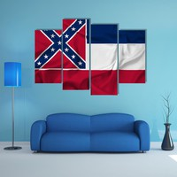 Waving Mississippi State Flag Multi Panel Canvas Wall Art