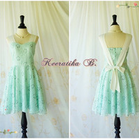A Party Princess - Vintage Mint Green Dress Party Dress Mint Lace Cocktail Prom Dress Tea Dress Bridesmaid Dress Lace Sundress Custom Made