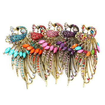 Bling-World Women Personality Lovely Alloy Retro Vintage Rhinestone Crystal Peacock Hair Clip Hairpin Delicate Jewelry Oct16