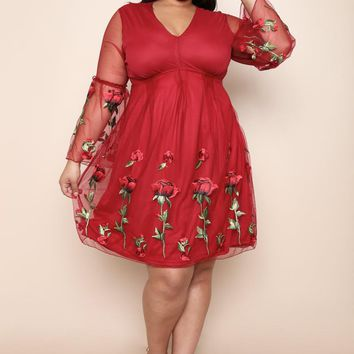 Chiffon Overlay Floral Flare Plus Size A-line Dress