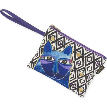"""Wristlet 10""""X7""""-Whiskered Cats - Blue"""