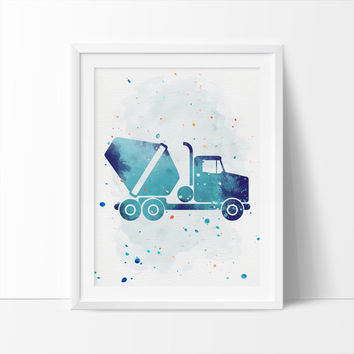 Cement Truck, Construction Trucks, Printable Art,  Boys Nursery Printable, Watercolor Art, Nursery Art, Kids Wall Art, Instant Download