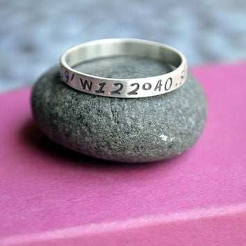 Skinny Latitude Longitude Ring in Sterling Silver Location Ring