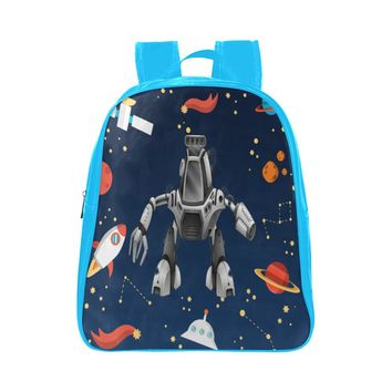 Space Robot Children's Small Blue Leather School Bag