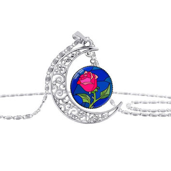 Beauty and the Beast Moon Necklace