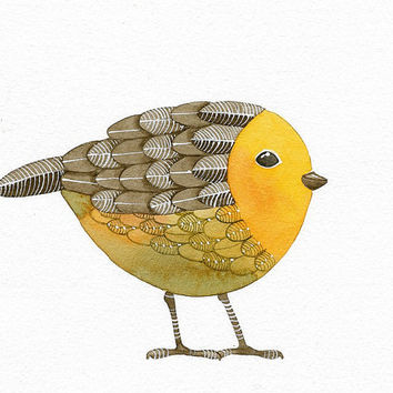Bird No.15 - Bird Art Print, Limited Edition - Watercolor Painting by Lorisworld