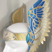 Leather Valkyrie Crown in Metallic Gold, Silver, and Blues, Perfect for Theater, LARPing and more!