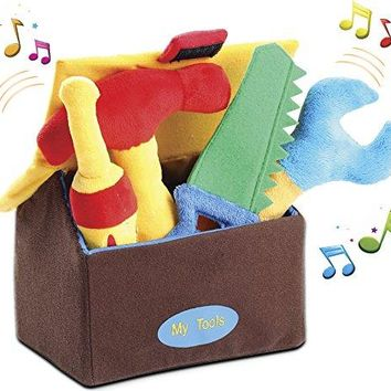 Plush Tool Play Set for Toddlers (5 Pcs - Play's Sounds) with Carrier Box | Extra Soft & Cute Toys for Baby Boys/Girls & Pre-School Children | Great Gift Idea