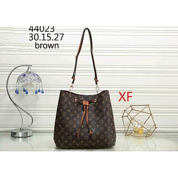 LV Louis Vuitton Classic Print Joker Stylish Bucket Bag Shoulder Bag F-WMXB-PFSH Brown