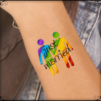 Temporary Tattoo 2 LGBT Gay Just Married Waterproof Fake Tattoos