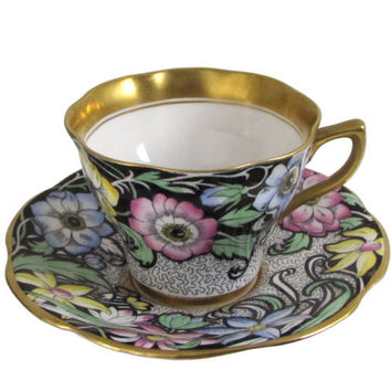 Rosina Teacup Set, Scalloped Edge, Wide Gold Gilt Band with Blue, Pink and Yellow Flowers on Black, Queens China Cup and Saucer
