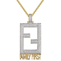 Men's FF Family First Square 14k Gold Finish Iced Out pendant