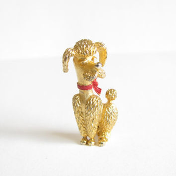 Vintage Figural Pin - Signed Deltah Gold Tone Poodle Pin - Red Bow Collar