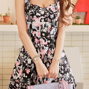 Floral Print Sweetheart Neck Skater Dress