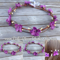 Purple Flower Crown Girls Flower Crown Purple Flower Crown plum flower crown Toddler crown flower girl crown Purple Hair Vine etsy