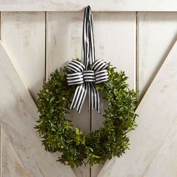 "Faux Boxwood Mini 10"" Wreath with Ribbon"