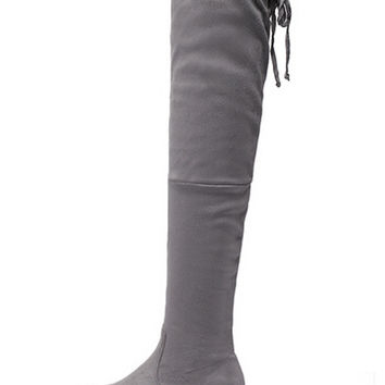 Grey Suedette Tied Back Thigh High Boots
