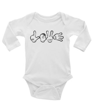 LOVE Hands Personalized Long or Short Sleeve Onesuit