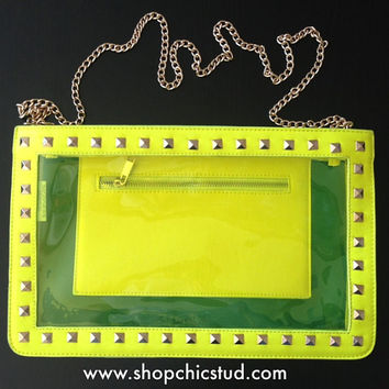 Studded Jumbo Transparent Clutch Bag - Neon Yellow - Gold Chain - Gold Studs