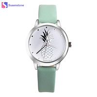 Pineapple Printed Faux Leather Analog Watch