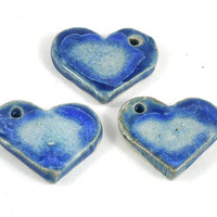 Handmade Ceramic Heart Focal Bead - Fused Glass Pottery Pendant - 30x22mm - Jewellery and Craft Supplies - 3 available - DeeDeeSupplies