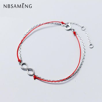 NBSAMENG 925 Sterling Silver Double Layer Infinity Eternity Red Thread Charm Bracelet For Women Adjustable Bracelets Jewelry