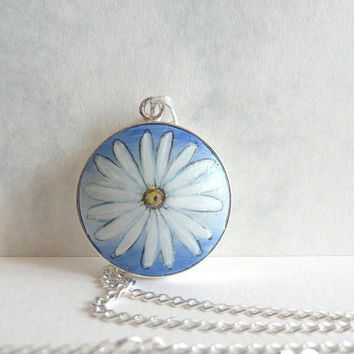 Chic Daisy Necklace - Sterling Silver Charm Pendant - Hand Painted  - Small Flower Painting on Wood - Sterling Silver Bezel