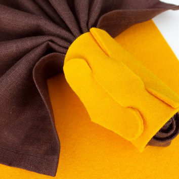 Rectangle Yellow Placemat And Ring For Cloth Napkins, Set Of Table Placemat And Napkin's Ring Holder, Wool Felt Home Decoration, Tableware
