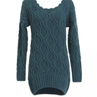 Oversized Cable Knitted Jumper with Curved Hem and Scalloped Trim