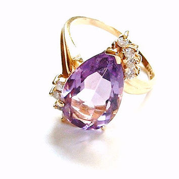 Vintage Amethyst Ring 14k Gold With Diamonds Size 7 Pear Shape Solitaire Setting