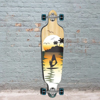 Punked Natural Surfer Drop Through Longboard 40""
